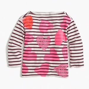 Crewcuts striped tossed hearts 3/4 sleeve shirt